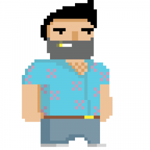 Pixel guy who looks like Tommy Vercetti from GTA: Vice City