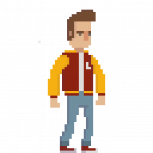 Pixel character inspired by Marty McFly