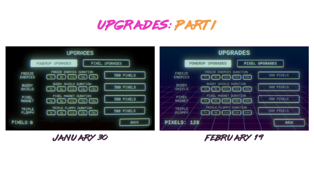 Two screenshots of Top Run upgrades UI, in style of old computer interfaces